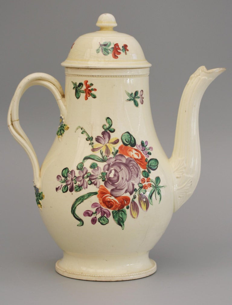 English Creamware Floral Painted Teapot and Cover, circa 1770 7