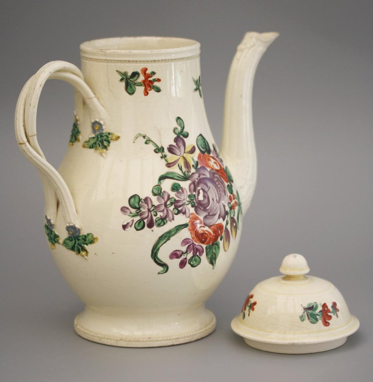 Hand-Painted English Creamware Floral Painted Teapot and Cover, circa 1770