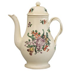 English Creamware Floral Painted Teapot and Cover, circa 1770
