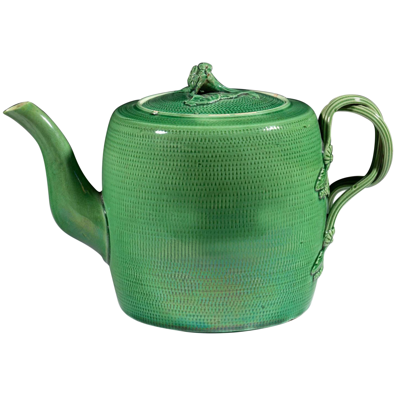 English Creamware Pottery Green Glazed Teapot and Cover, Swinton, Yorkshire