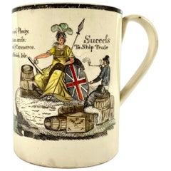 English Creamware 'Success to Ship Trade' Mug, circa 1790