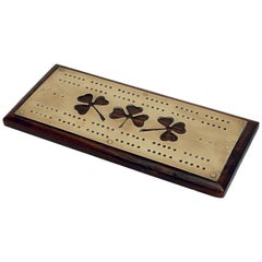 English Cribbage Board of Brass and Wood