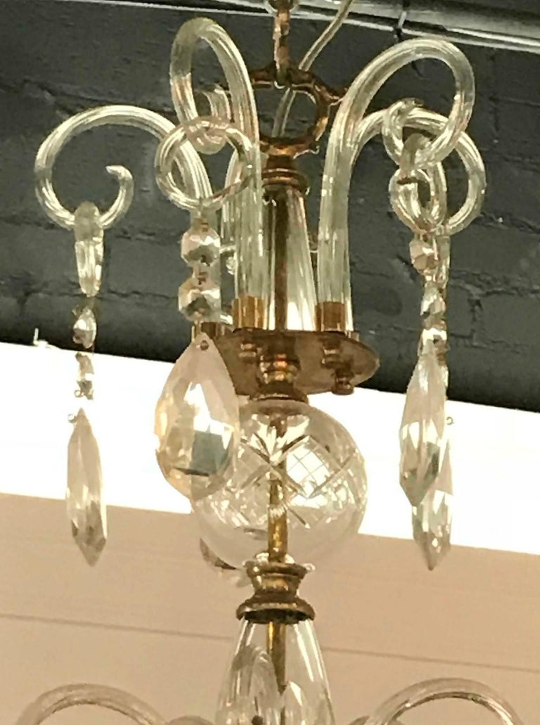 Faceted English Crystal and Blown Glass Chandelier For Sale