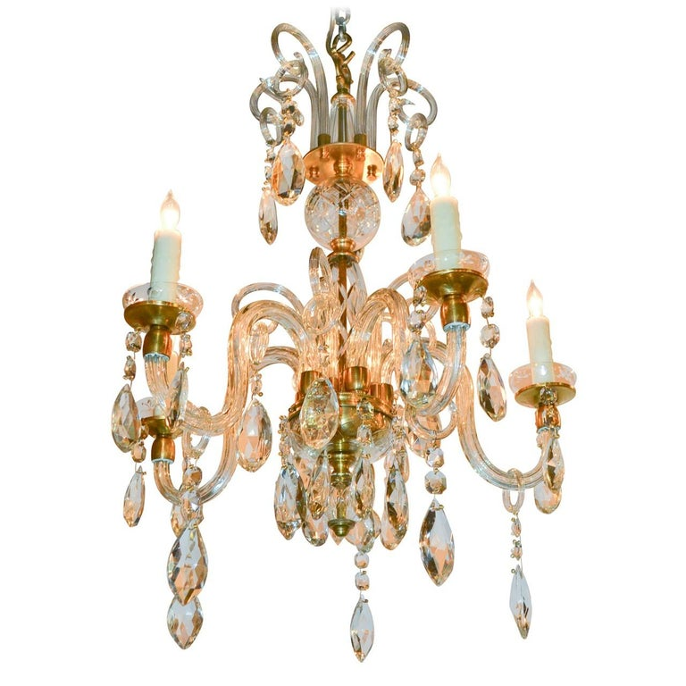 English Crystal and Blown Glass Chandelier For Sale