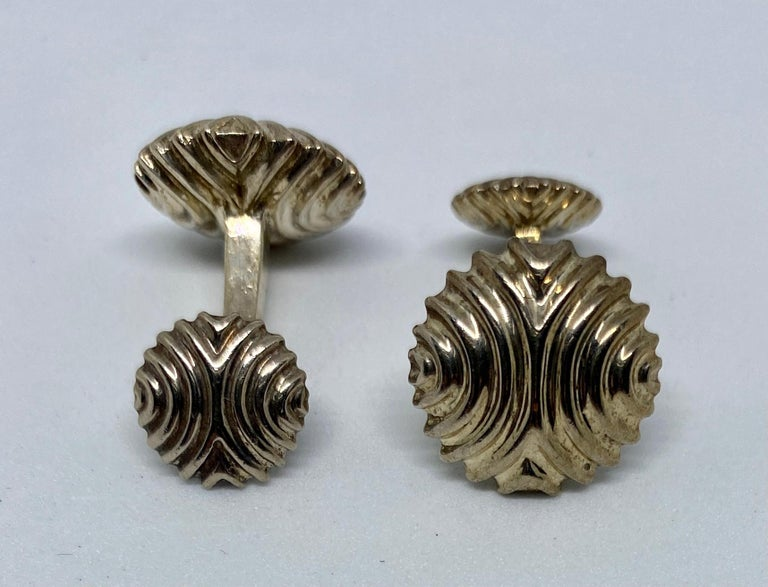 Contemporary English Cufflinks in Sterling Silver For Sale
