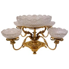 English Cut Crystal and Gold Bronze Centerpiece