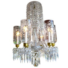 English Cut Crystal Chandelier with Engraved Hurricane Shades