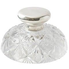 English Cut Crystal Monumental Inkwell by Middleton & Heath, 1912