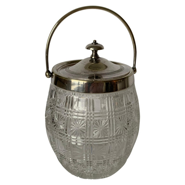 English Cut Glass and Silver Biscuit Barrel For Sale