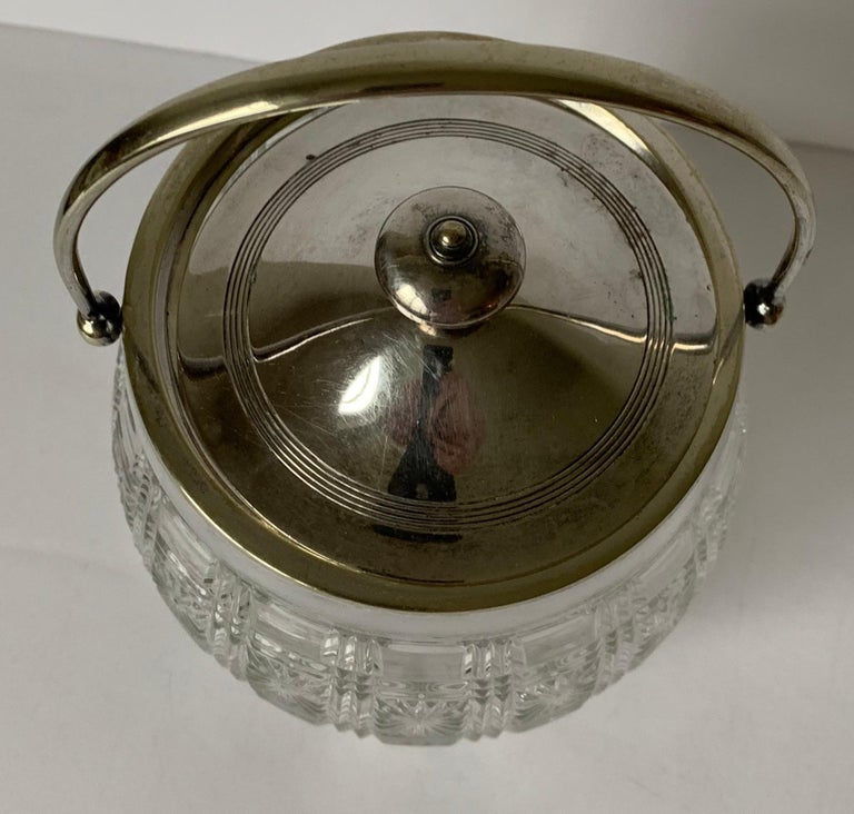 Regency English Cut Glass and Silver Biscuit Barrel For Sale