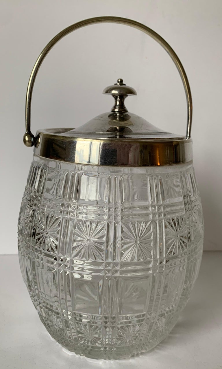 American English Cut Glass and Silver Biscuit Barrel For Sale
