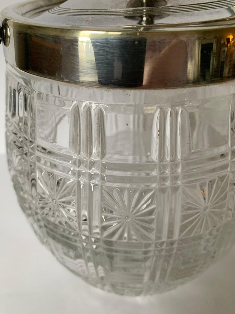 Mid-20th Century English Cut Glass and Silver Biscuit Barrel For Sale