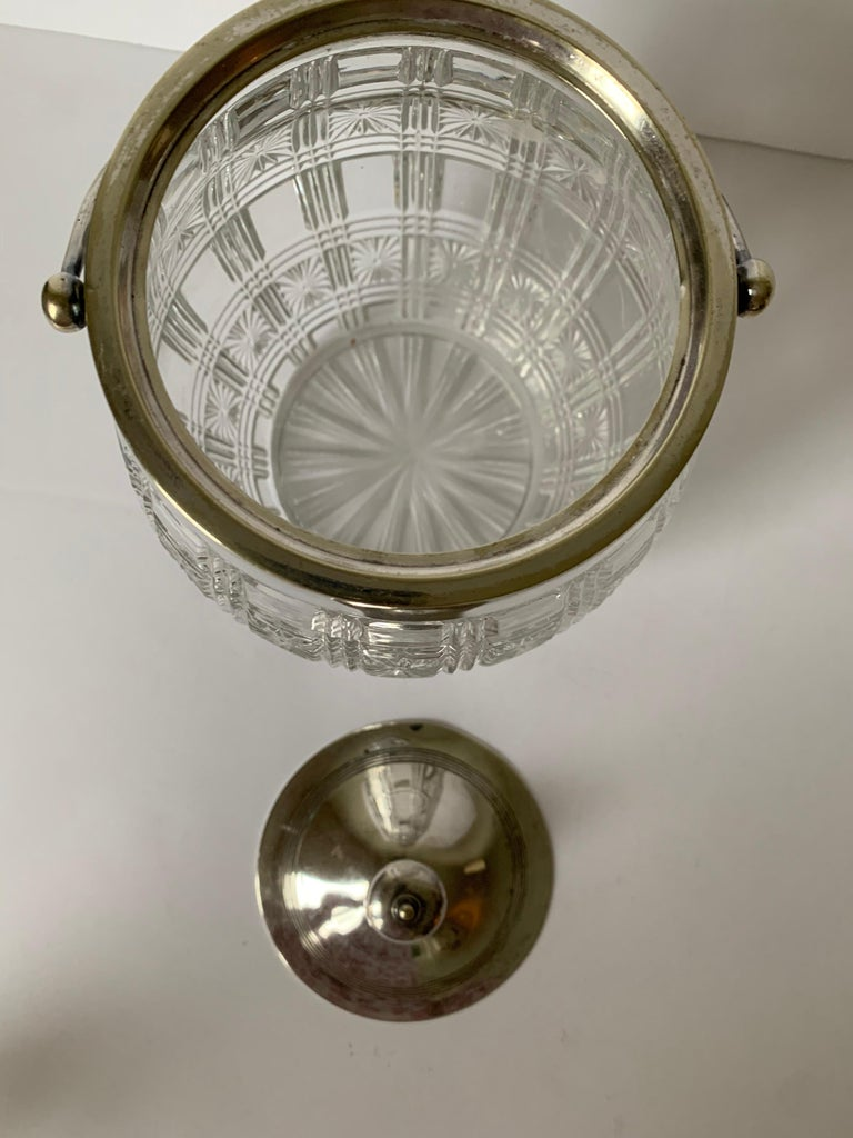Silver Plate English Cut Glass and Silver Biscuit Barrel For Sale