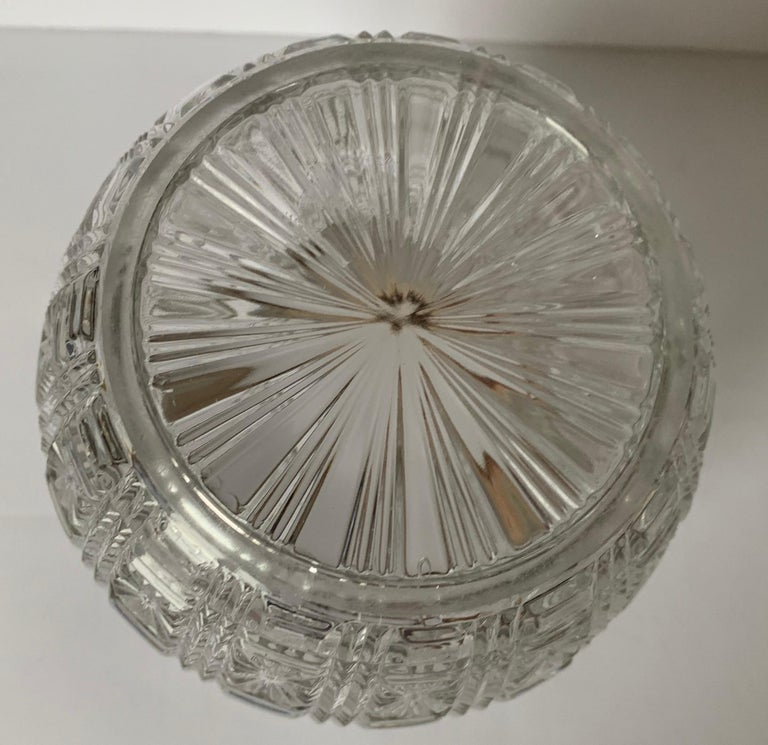 English Cut Glass and Silver Biscuit Barrel For Sale 1