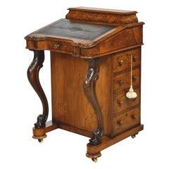 English Davenport Desk in Walnut & Burl Walnut with Marquetry, circa 1840