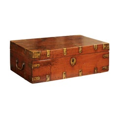 English Decorative Oak Box with Brass Accents and Lateral Handles, circa 1880