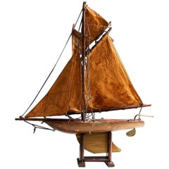English Decorative Pond Yacht on Stand, Early 20th Century, circa 1920
