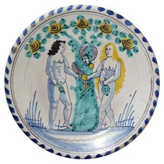 English Delftware Blue Dash Border Adam and Eve Charger Late 17th Century