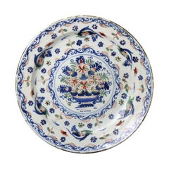 English Delftware Charger Polychrome Colors Bristol Works, 18th Century