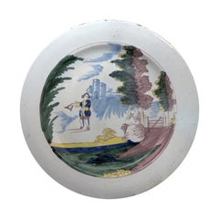 English Delftware Dish with Figures in a Landscape Liverpool