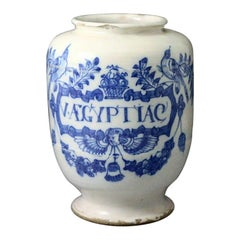 English Delftware Drug Jar Songbirds Pattern Late 17th Century London