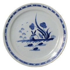 English Delftware Plate with a Naive Image of a Rabbit, Mid-18th Century