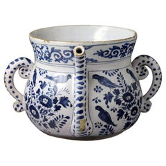 English Delftware Pottery Blue and White Chinoiserie Decorated Posset Pot