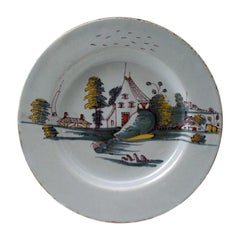 English Delftware Seascape Pottery Plate in Chinese Fashion, Mid-18th Century