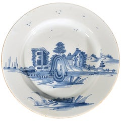 English Delftware Underglaze Blue Dish Decorated with Unusual Buildings, 1740