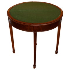 English Demilune Card Table Edwardian Circular Mahogany Folding Console Table