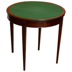 English Demilune Card Table Edwardian Mahogany Folding Console Table Circular