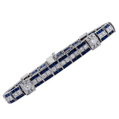 English Diamond and Sapphire Platinum Bracelet