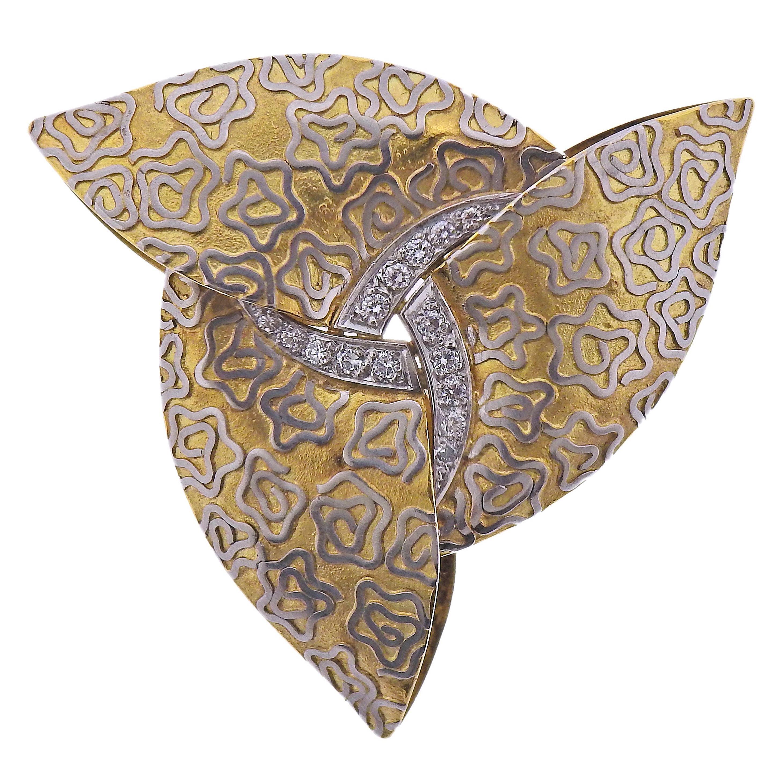 English Diamond Gold Brooch Pin