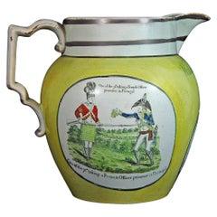 English Documentary Pearlware Yellow-Ware Napoleonic Jug, Dated 1813