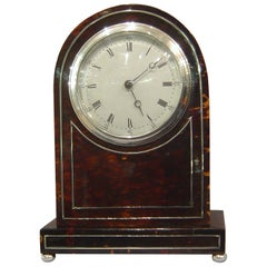 English Dome Topped Tortoiseshell Mantel Clock