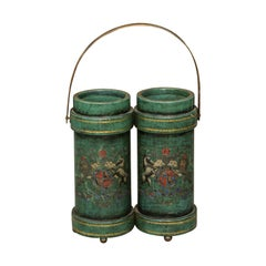 English Double Leather Bucket with Handle and Royal Coat of Arms, circa 1920