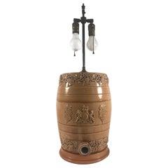 English Doulton Lambeth Style Salt Glaze Whiskey Barrel, Water Cooler by Powell
