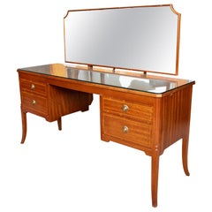 English Dressing Table Mahogany Maple & Co Twin Pedestal Kneehole Mirror
