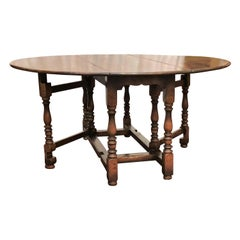 English Drop-Leaf Yew Wood Round Table