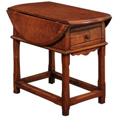 English Drop-Leaf Yew Wood Side Table with Single Drawer and Side Stretcher
