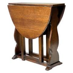 English Dropleaf Trestle Table of Oak