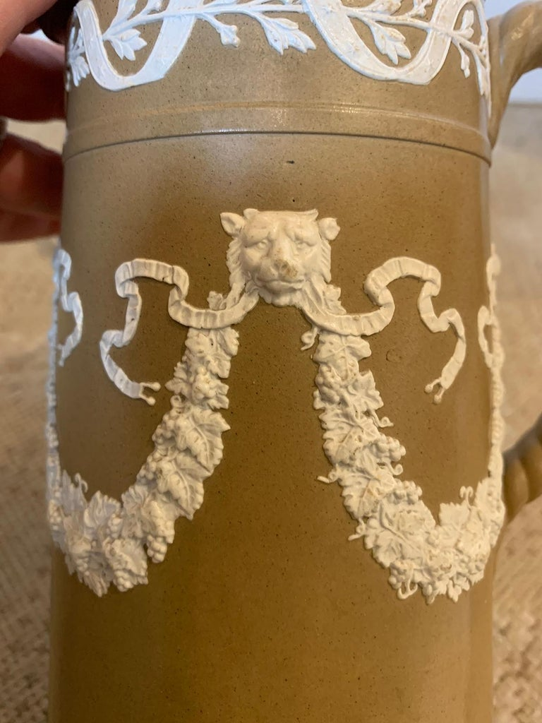 19th Century English Dudson Paxton Brown & White Jasperware Sprigged Jug / Pitcher with Mark For Sale
