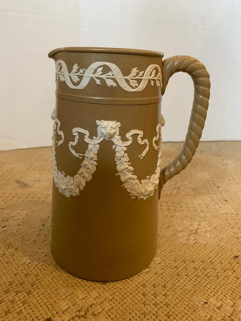 English Dudson Paxton Brown & White Jasperware Sprigged Jug / Pitcher with Mark For Sale 4