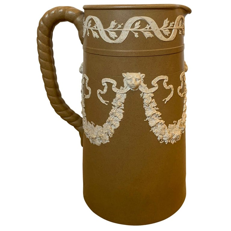 English Dudson Paxton Brown & White Jasperware Sprigged Jug / Pitcher with Mark For Sale