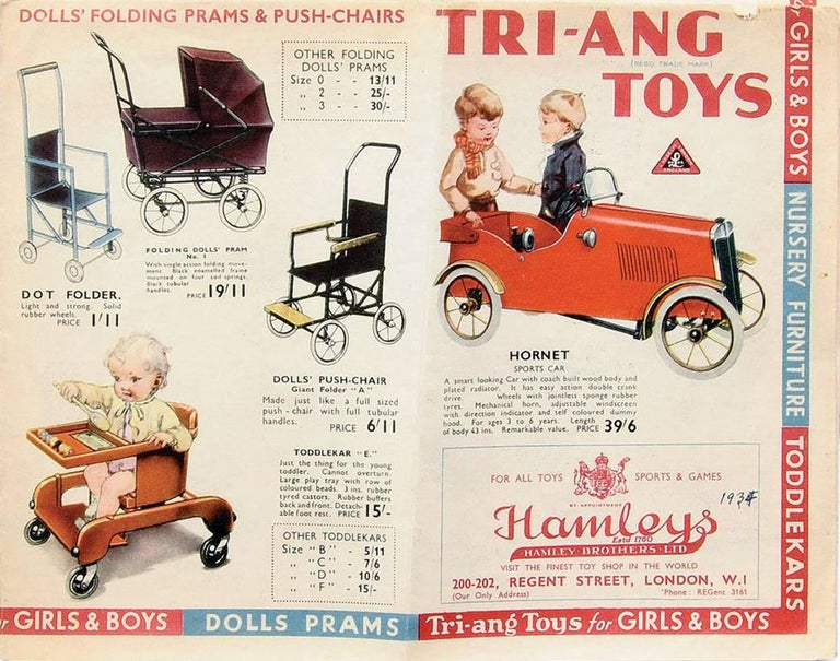 20th Century English 'Duke' Childs Pedal Car by Triang & Tri Trailer for Prop Display or Use For Sale