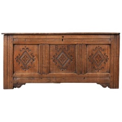 English Early 18th Century Carved Coffer