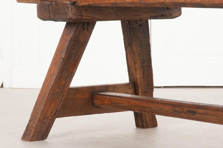 Country English Early 18th Century Thick Oak Bench For Sale