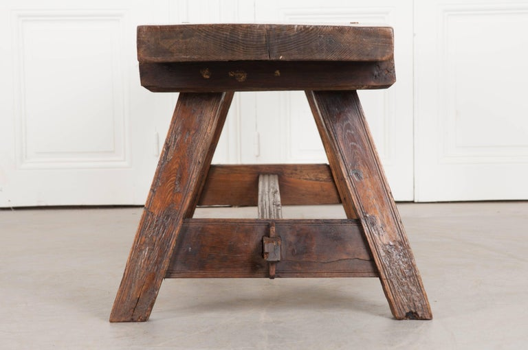 19th Century English Early 18th Century Thick Oak Bench For Sale