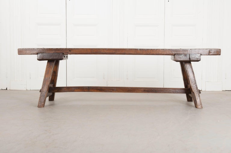 English Early 18th Century Thick Oak Bench For Sale 1