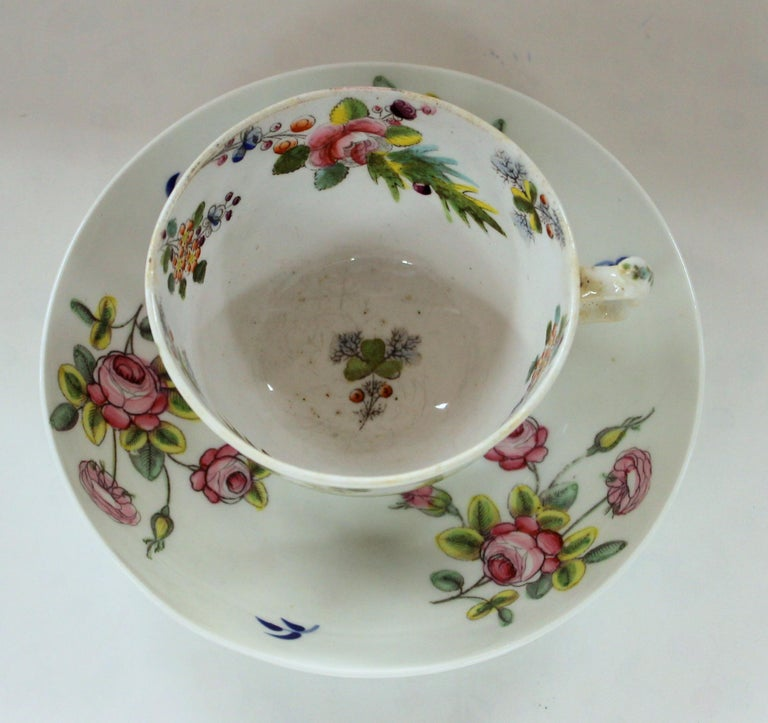 Rare and fine antique English new hall porcelain floral decor cup and saucer